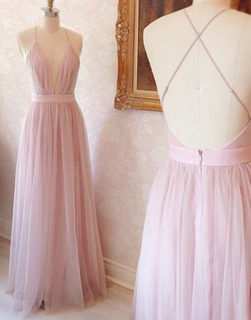 Simple V Neck Tulle Pink Long Prom Dress Pink Evening Dress Prom24