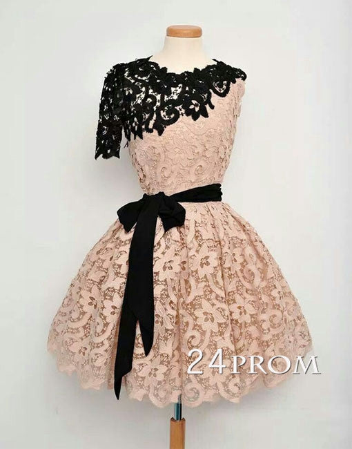Champagne A-line Short Lace Prom Dress, Formal Dress