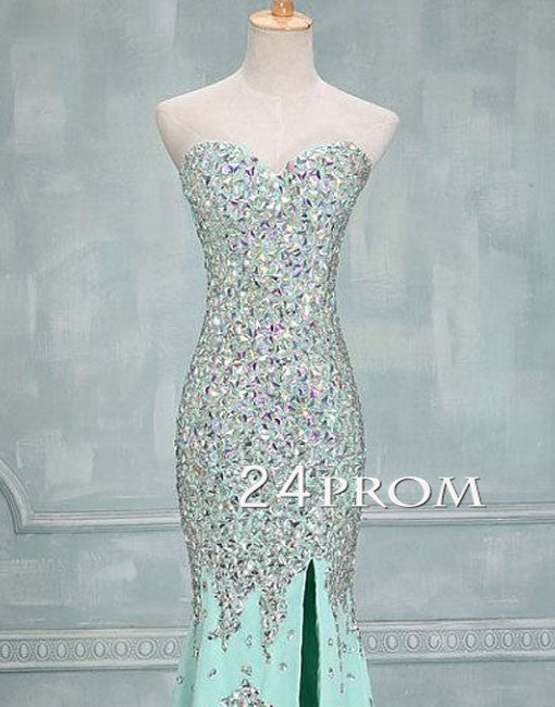 Green Mermaid Rhinestone Long Prom Dresses, Formal Dress