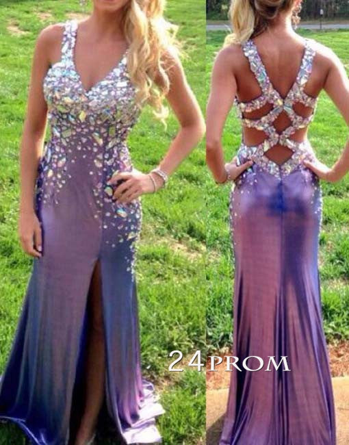 Backless Rhinestone Long Prom Dresses, Formal Dresses