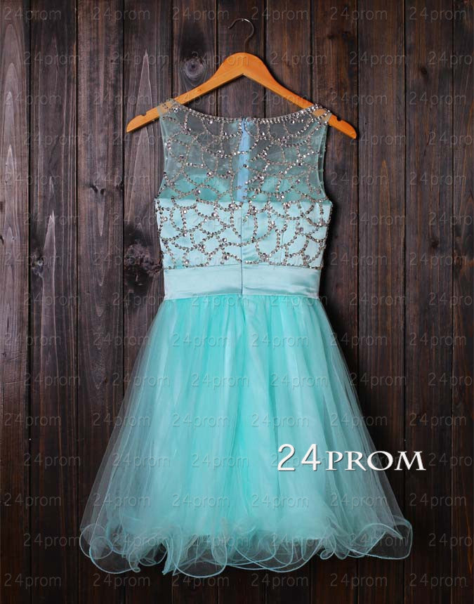 Green Tulle Sequin Short Homecoming Dress, Prom Dress