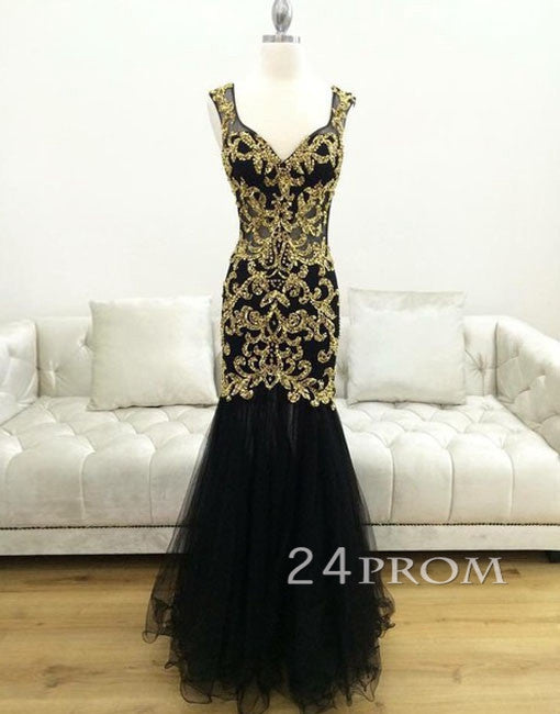 Black Tulle Sweetheart Gold sequins Long Prom Dress, Evening Dress