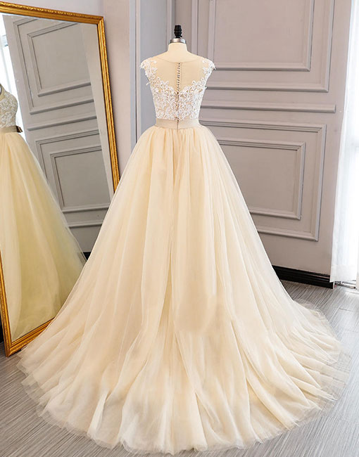 Unique round neck tulle lace applique long prom dress, champagne wedding dress