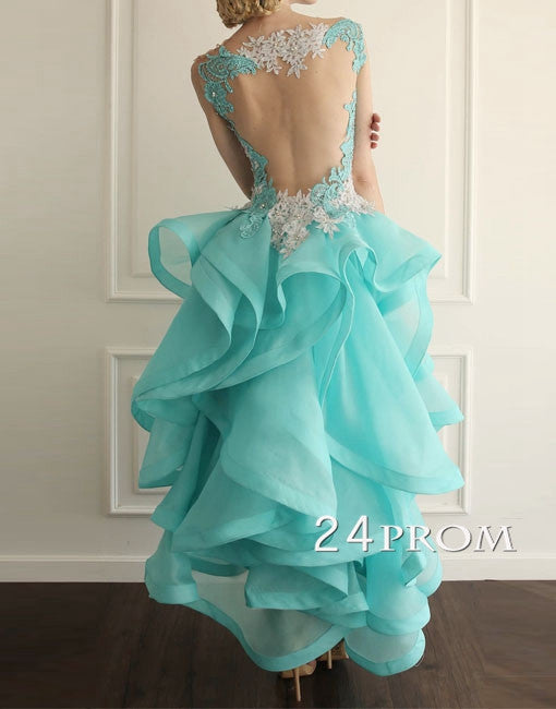 Lace flouncing round neckline Long Prom Dresses, Formal Dress