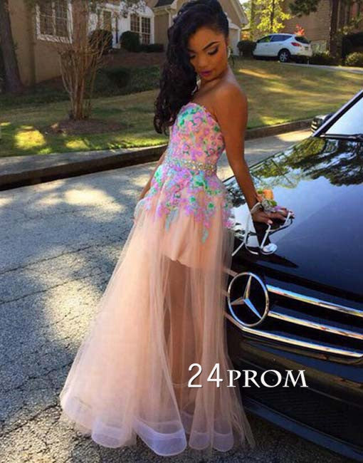 Custom Made A-line Lace Tulle Long Prom Dresses, Formal Dresses