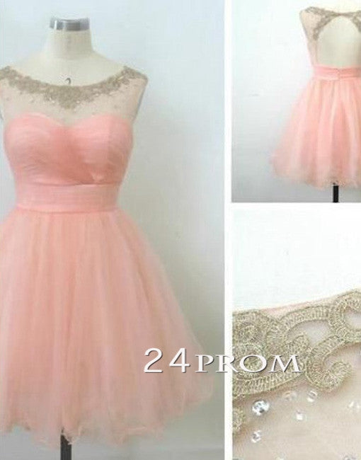 Pink Round Neckline Mini Homecoming Dresses, Prom Dresses