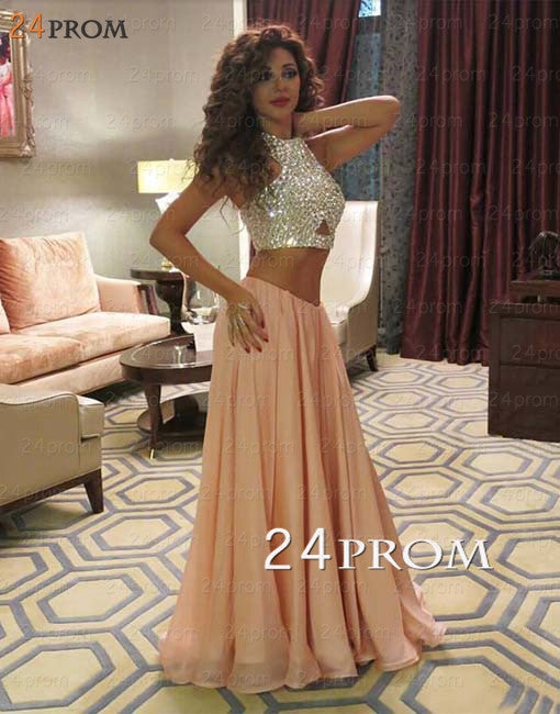 Custom Made Champagne A-line 2 Pieces Long Prom Dress, Evening Dress