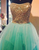 Green Sweetheart Beaded Long Prom Gown, Evening Dress