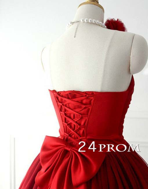 734e1274211 Sweetheart Neckline Tulle Red Short Prom Gown