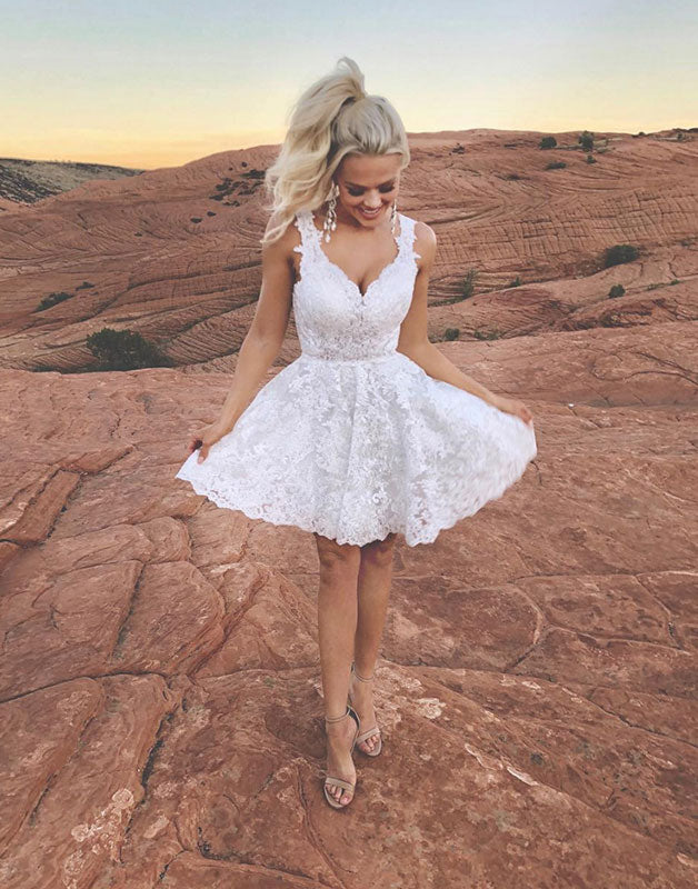 Cute white lace short prom dress, white evening dress