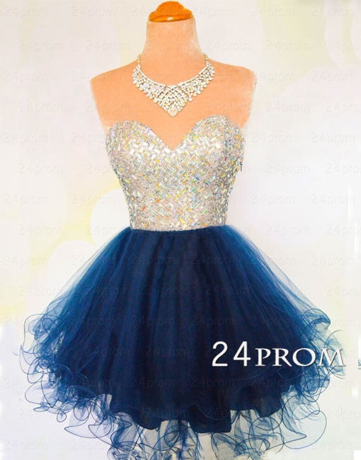 Sweetheart A-line Rhinestone Short Prom Dress, Homecoming Dress