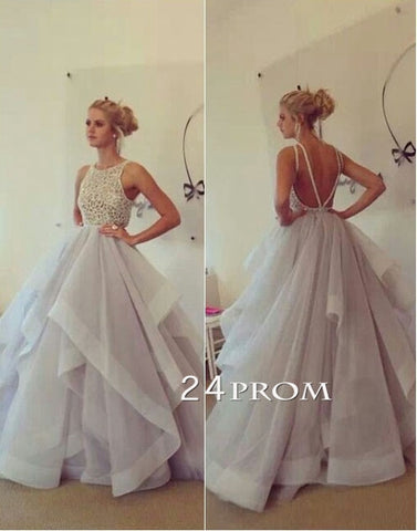 Custom Made Round neckline Tulle Ruffled Long Prom Dress, Formal Dress