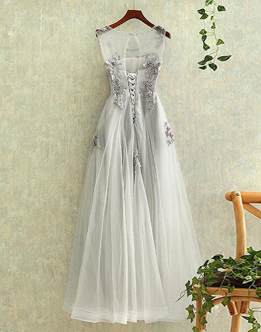 Gray tulle round neck lace long prom dress, evening dress