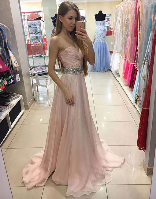 Cute sweetheart pink chiffon long prom dress, pink formal dress