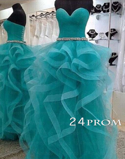 Custom Made Sweetheart Turquoise Tulle Long Prom Dresses, Formal Dresses