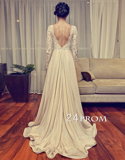 Custom Made Backless Lace Long Wedding Dresses, Bridal Dresses