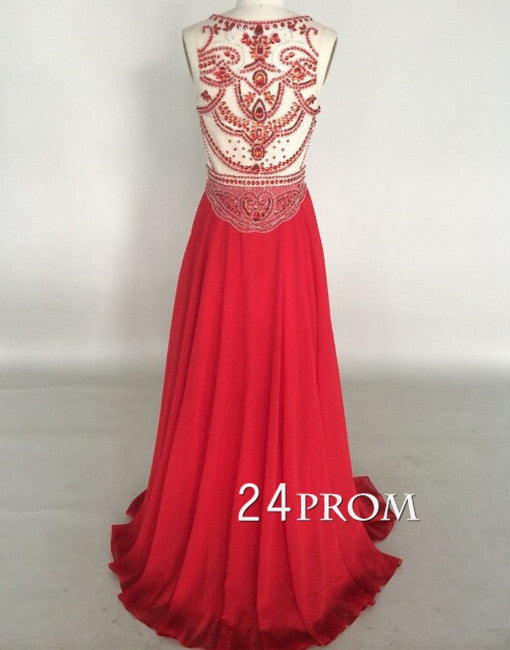 Amazing Red Chiffon A-line Round Neckline Long Prom Dresses, Formal Dresses
