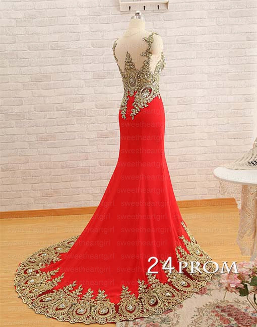 Red Chiffon Lace Long Prom Dress,Formal Dress