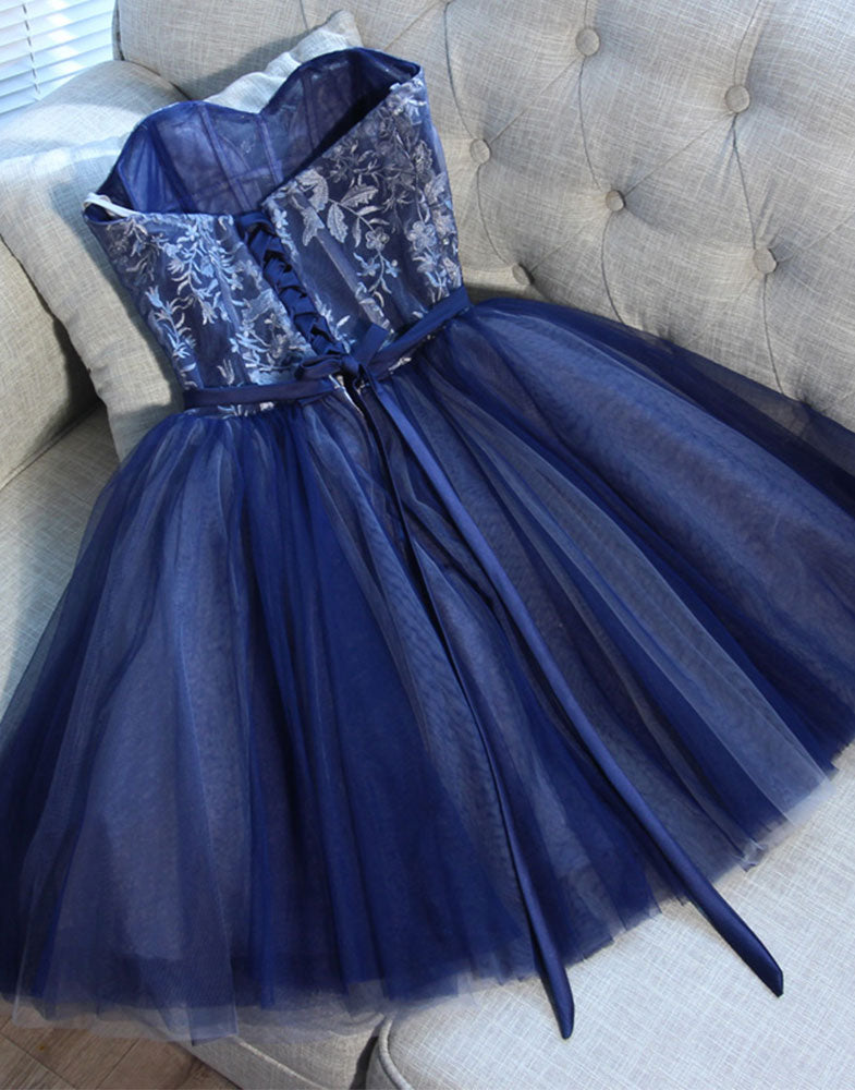 Cute blue sweetheart tulle short prom dress, blue homecoming dress