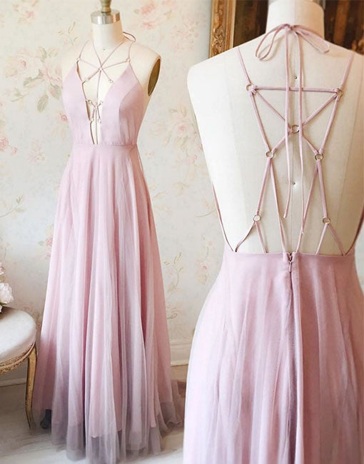 Pink v neck chiffon lace prom dress, cute pink evening dress