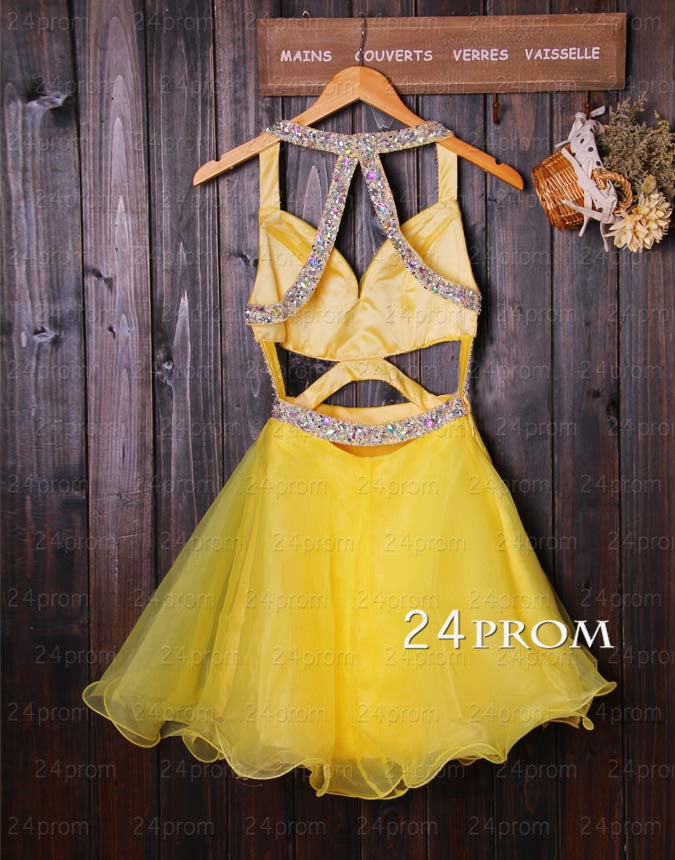 A-line Yellow Short Backless Prom Dresses, Homecoming Dresses