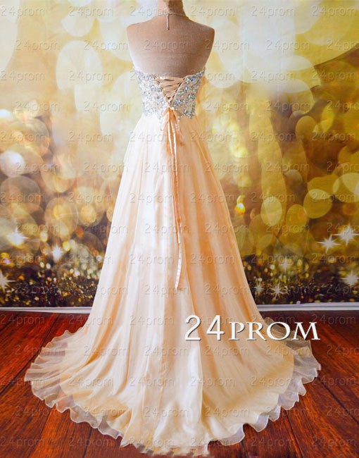 Champagne A-line Sweetheart Chiffon Long Prom Dress, Formal Dresses