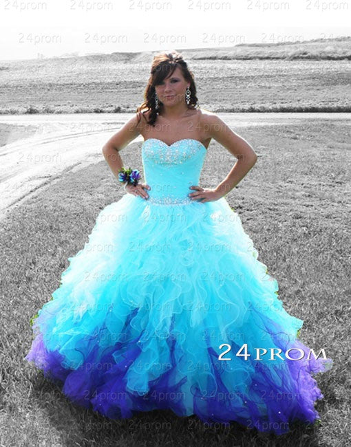 Blue A-line Ball Gown Sweetheart Long Prom Gown,Evening Gown,Sweet 16 Dresses