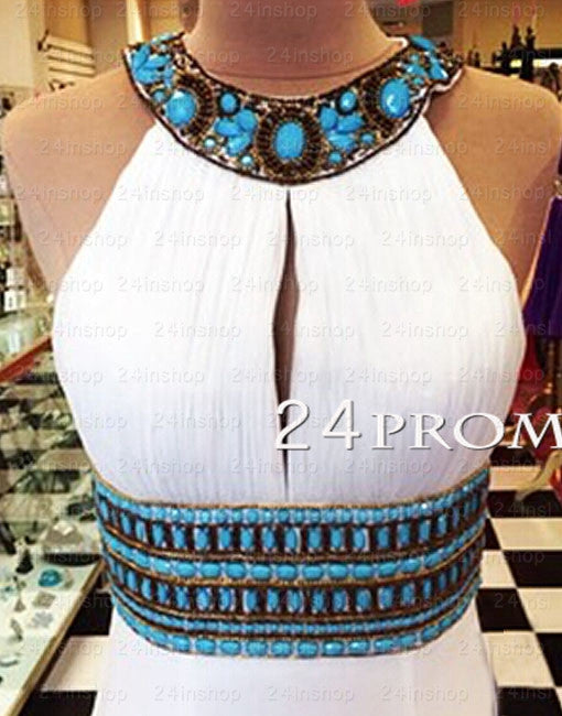 White A-line Backless Long Prom Dresses, Evening Dresses