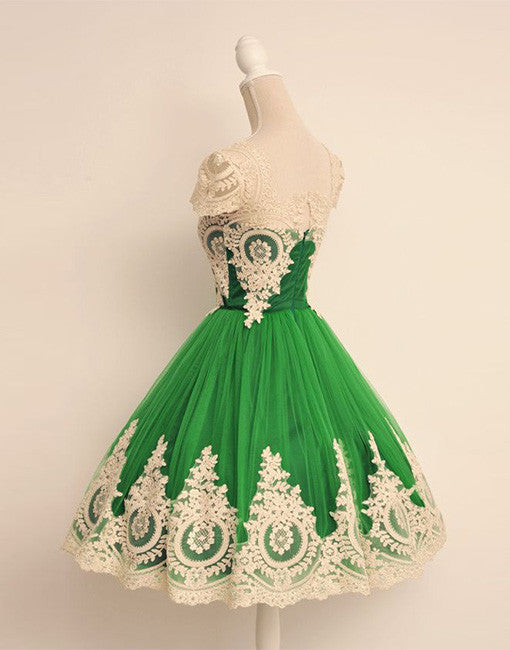 Cute Green tulle lace short prom dress, green bridesmaid dress