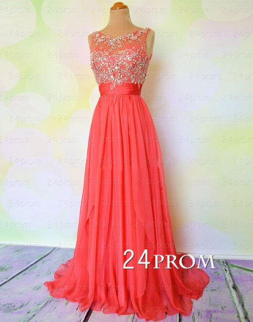 Round neckline beaded A-line Chiffon Red Prom Dresses, Long Prom Dress