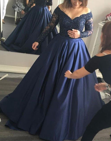 Dark blue lace long prom dress, dark blue evening dress