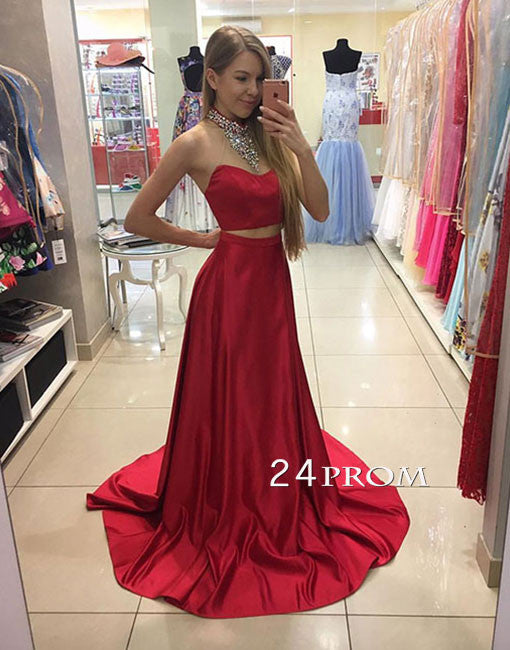 Red two pieces sequin long prom dress, red evening dress