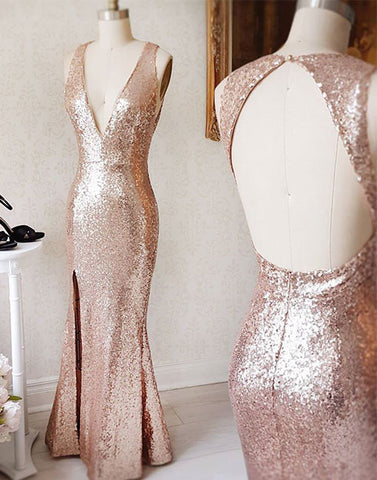 Champagne sequin mermaid long prom dress, mermaid evening dress
