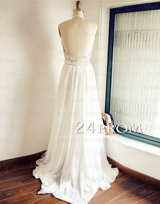White A-line Lace Backless Long Prom Dresses, Evening Dress