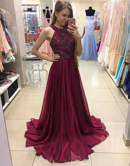 Cute Burgundy Chiffon Long Prom Dress Burgundy Evening Dress Prom24