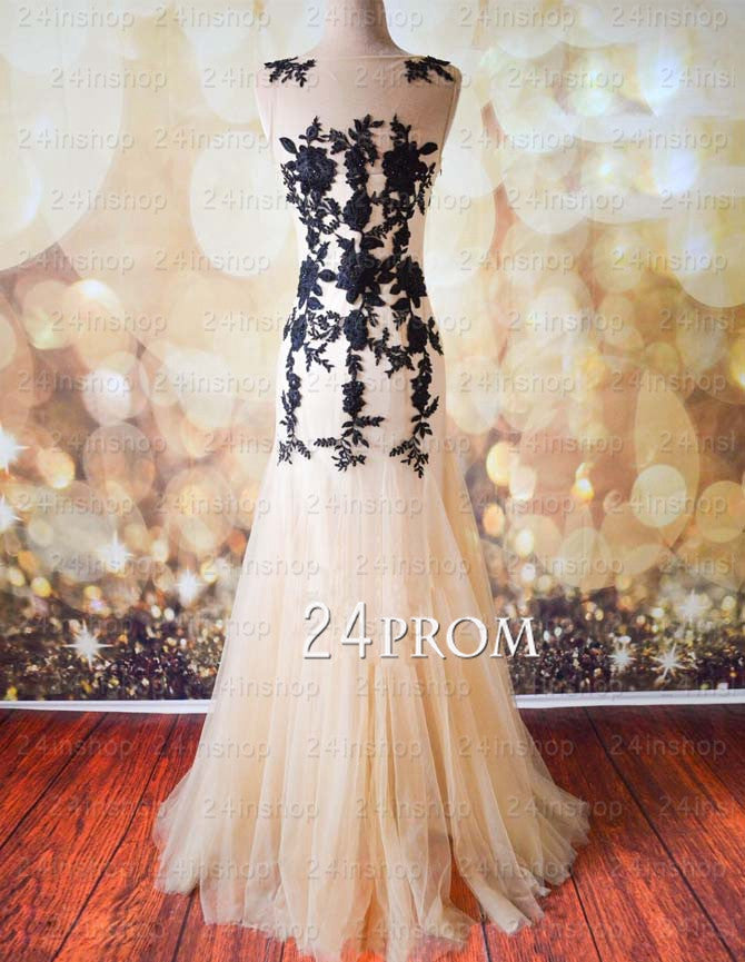 Black A-line Round Neckline Tulle Lace Long Prom Dresse