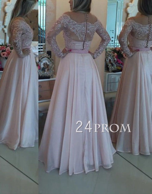 Custom Made Round Neck Lace Long Prom Dress, Formal Dress