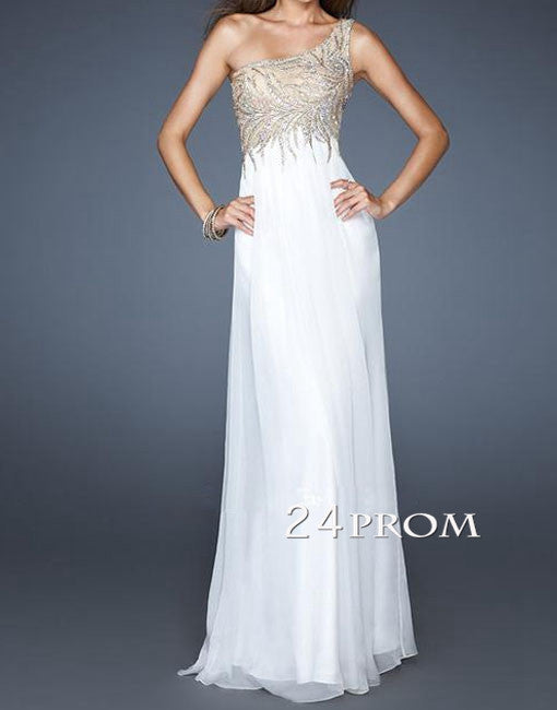 White One-Shoulder Chiffon Long Prom Dresses, Formal Dresses