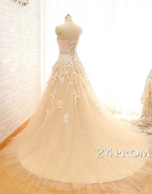 Sweetheart Tulle Lace Long Wedding Dresses, Bridal Dress