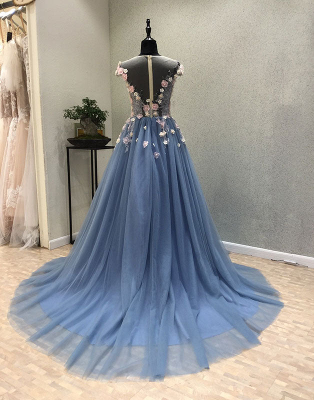 Blue round neck tulle lace applique long prom dress, blue evening dress
