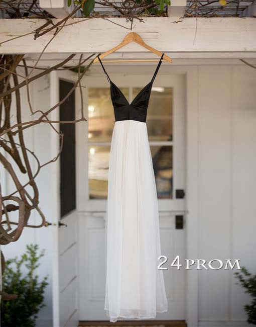 Simple A-line White Backless Long Prom Dresses, Evening Dresses