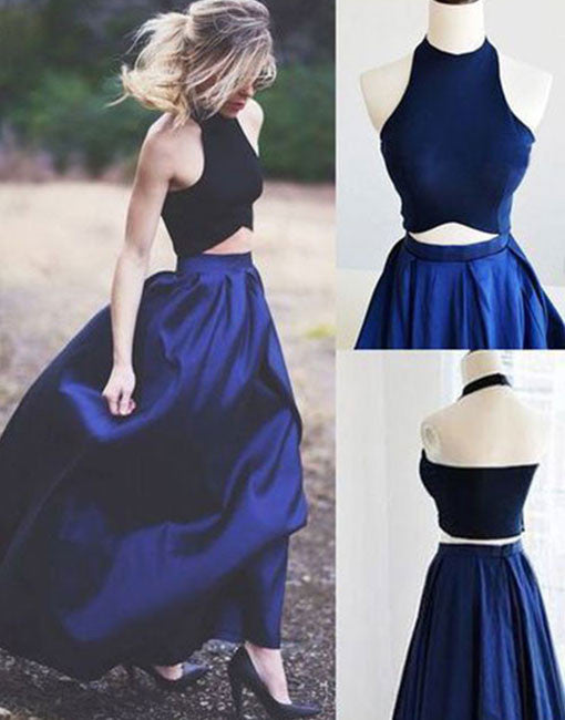 Blue two pieces long prom dress, blue evening dress