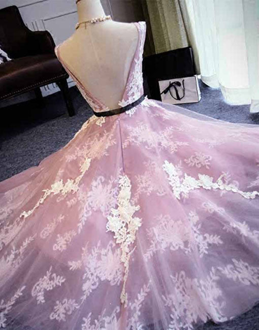 Unique round neck tulle lace long prom dress, bridesmaid dress
