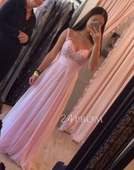 Pink chiffon lace long prom dress, evening dress