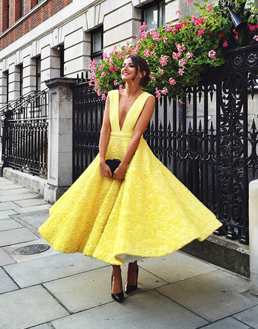 Unique yellow tea length lace prom dress, lace homecoming dress