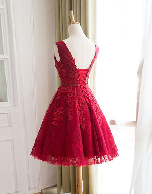 Burgundy tulle lace short prom dress, bridesmaid dress