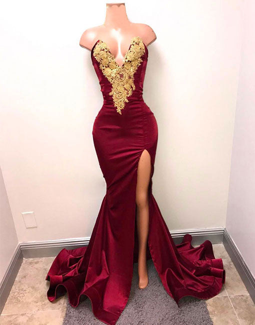 Unique V Neck Lace Burgundy Mermaid Prom Dress Evening Dress