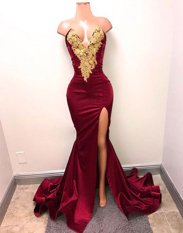 Unique v neck lace burgundy mermaid prom dress, evening dress