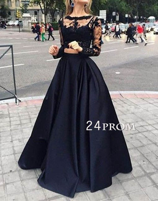 Custom made round neck lace 2 pieces prom dress, evening dress