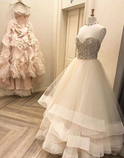 White sweetheart neck tulle long prom dress, white evening dress